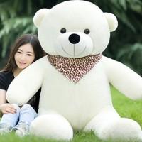 米白色圍巾泰迪熊公仔布娃娃毛絨玩具熊