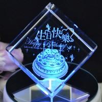 立方體水晶音樂盒生日禮物可刻字