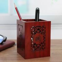 紅木鏤花筆筒可定制祝福語