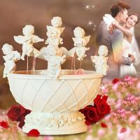 歐式天使許愿噴泉擺件創意家居工藝品