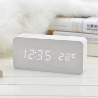 創意LED聲控數碼木頭鬧鐘
