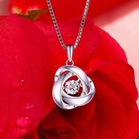 時尚會舞動的玫瑰花吊墜925純銀項鏈