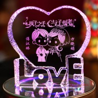 音樂發光婚慶水晶擺件可印照片
