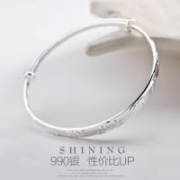 小雛菊銀手鐲S999純銀簡約花朵手飾