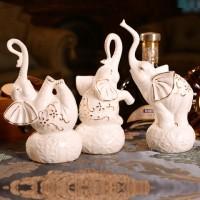 喬遷禮品陶瓷三口象家居裝飾擺件