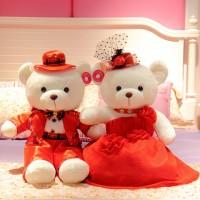 結婚禮物壓床娃娃一對毛絨玩具公仔