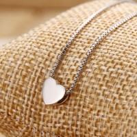 簡約925純銀飾愛心形項鏈吊墜