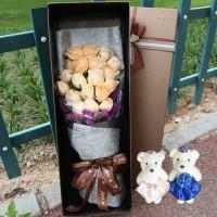 19朵香檳金玫瑰花鮮花禮盒