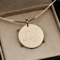 純銀圓牌刻字項鏈情侶禮物