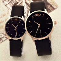 簡約真皮表帶超薄石英情侶手表