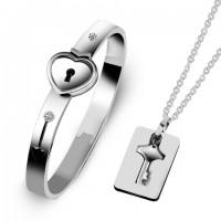 情侶同心鎖手鐲項鏈情人節禮物