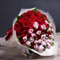高端66朵混搭紅粉玫瑰鮮花花束