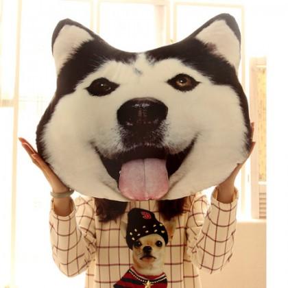 創意3D大狗頭抱枕圣誕節禮物